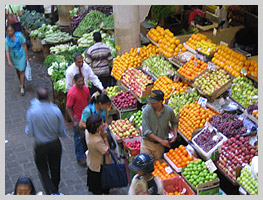 A view of the fruit and vegetable market of Port Louis